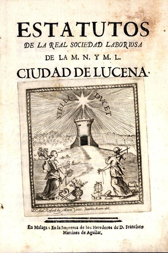 Estatutos de la Real Sociedad Laboriosa de la M.N. y M.L. Ciudad de Lucena
