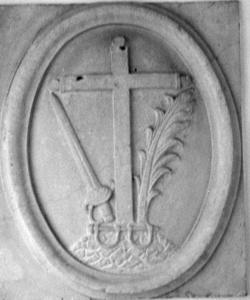 Escudo original de la inquisición, ocupaba la fachada de la casa de don Martín Fernández de Bruselas en la calle San Pedro