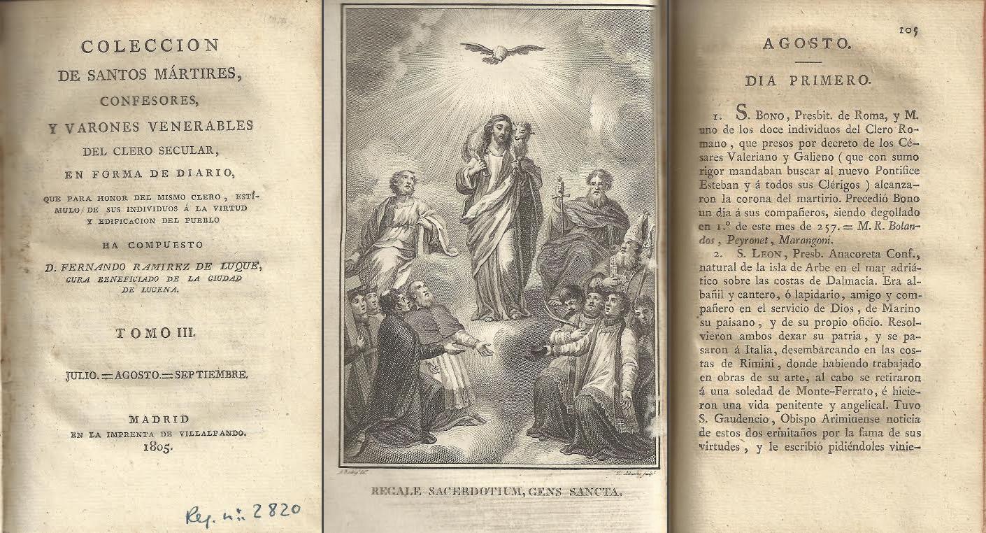 Colección de santos mártires confesores y varones venerables del clero secular en forma de diario (1803-1820)